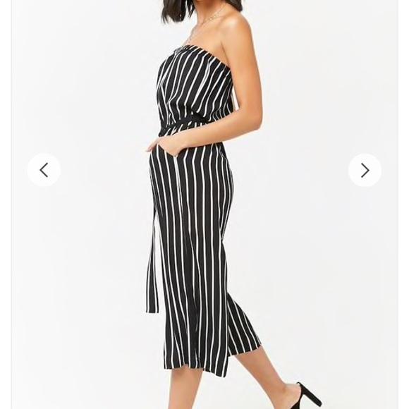 50f924f86605 Forever 21 Dresses   Skirts - Striped Crepe Capri Jumpsuit strapless tie  waist